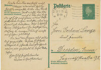 DT.REICH 1931 Friedrich Ebert 8 Pf dunkelgrün GA-Postkarte Maschinenstpl MEISSEN
