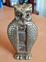 Vintage Brass Owl Ornament With Ruby Stone Eyes & Space For Thermometer  VGC