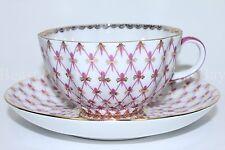 Russian Imperial Lomonosov Porcelain Tea cup, saucer Net Blues 22k Gold Russia