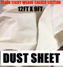 3 X Calico Close Plain Tighter Weave 100% Cotton Dust Sheet - 12ft x 9ft