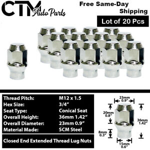 20Pc CHROME M12x1.5 EXTENDED THREAD ET STYLE LUG NUT FIT CHEVY CADILLAC & MORE