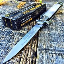 """9"""" Italian Stiletto Tactical Spring Assisted Open Pocket Knife White Tf-575Wp-"""