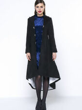 NWT BLACK DUSTER SWING COAT FashionMia Women's Sz LARGE $60 Value Trench goth