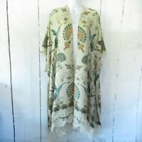 New Angie Kimono Wrap OS One Size S M L XL Tan Floral Bird Boho Peasant Crochet