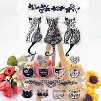 cute cat family Silicone Stamp DIY Scrapbooking Photo Album Decorative RA