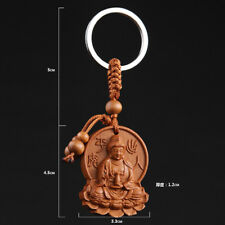 NEW Kwan Guan Yin Buddha Wood Carving Sculpture Chinese Pendant Key Chain Wooden