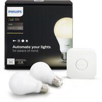 NEW Philips Hue White A19 60W Dimmable LED Smart Bulb Starter Kit 2 Bulbs 1 Hub