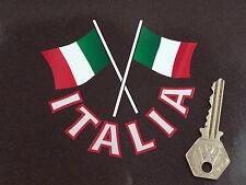 "ITALIA Text & Gekreuzte Italienische Flaggen Motorrad/Auto-Aufkleber 4"" Italien"