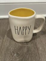 Rae Dunn Artisan Collection By Magenta LL HAPPY Yellow Interior Farmhouse Mug