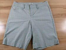 Dockers Womens Green Tan White Plaid Cotton Blend Golf Shorts Size 6