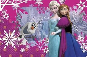 Frozen Sisters Plastic Placemat Birthday Party Anna Elsa Olaf 12x18 NEW