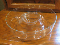 CLEAR Serving BOWL Chips & Dip GLASS Summer Party Game Crystal ?Princess House