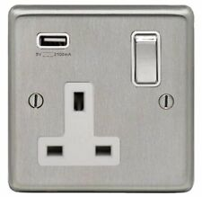 BRUSHED STAINLESS STEEL, SINGLE SOCKET OUTLET WITH SINGLE USB SOCKET, WHITE TRIM