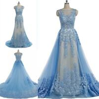 Blue Lace Appliques With Detachable Evening Party Prom Dress Pageant Gown custom