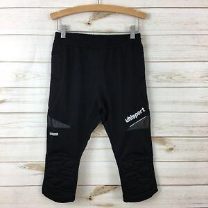 NEW Uhlsport Kids Black Soccer Padded Goalkeeper Long Shorts. SS 152-XL(11-12Y)