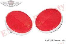 PAIR UNIVERSAL HELLA ROUND REFLEX REFLECTOR RED 90MM TRUCK TRACTOR JEEPS @AUD