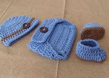 Handmade Crochet Baby Boy Hat, Diaper Cover & Booties Set  Newborn 6 Months