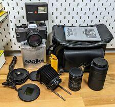 Rolleiflex Sl35 E 35mm Slr Film Camera w/ Rollei-Hft 50mm Lens + Accessories
