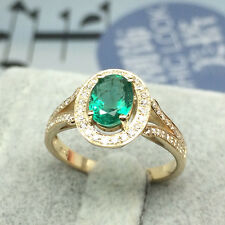 Excellent 1.22ct Natural Colombia Emerald Diamond Gem-Set Ring 18k Yellow Gold