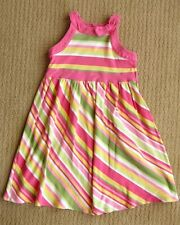 Gymboree Teatime Afternoon Green, Pink & Yellow Striped Knit Sundress Dress 9 yr