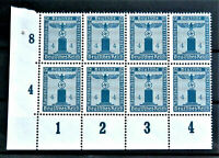 WW2 REAL HITLER 3rd REICH ERA GERMAN BLOCK OF 8 OFFICIAL STAMPS WITH MARG MNH