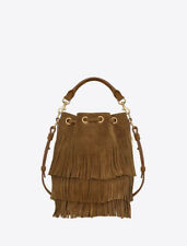 Saint Laurent YSL Small Suede Emmanuelle Bucket Bag With Suede Fringe 357603