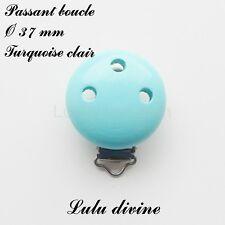Pince / Clip en bois, attache tétine, Ø 37 mm, passant boucle : Turquoise clair
