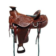 "16"" WESTERN HORSE TACK WADE LIGHT ROPING TRAIL TOOLED  LEATHER RANCH SADDLE"