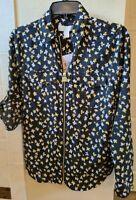 MICHAEL KORS Women's Flower Zip-front Blouse Shirt Top S