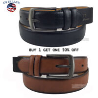 Men's Casual Black Dress Leather Belt w/ Buckle New S-XL classes Black Brown3397