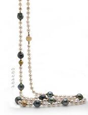 Kette Tahiti Perlen + Akoya Perlen 585 Gelbgold Longkette 98cm UNIKAT ORNARA ®