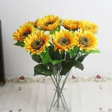 Yellow Fake Sunflower Artificial Silk Flower Bouquet Wedding Home Floral Decor o