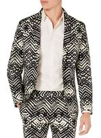 INC Mens Suit Jacket Black Size XS Tribal Two Button Slim Fit Blazer $129 129