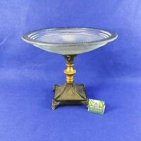 Compote Footed Base Pedestal Pressed Glass Metal 10 Inches Tall