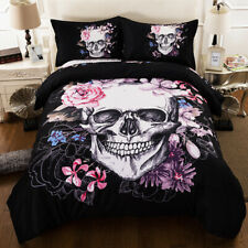 Skull Duvet Quilt Cover Gothic Flower Bedding Set Pillowcases Full Queen King