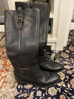 Cole Haan Kenmare Black Leather Knee High Riding Boots w/ Strap Size 8B Shoes