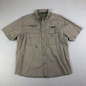 Eddie Bauer Mens XL Vented Fishing Shirt Khaki Pockets Casting Club *FLAW*. A3