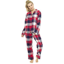 Womens Ladies Soft Fleece Pyjamas Animal Star Twosie PJs Lounge Long Sleeve Gift Navy & Red Checked UK Size 8-10