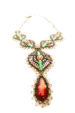 MIGUEL ASES  Myuki Beaded Drop Necklace in Peach and Mint Oval Teardrop NWT SALE