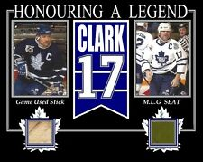 WENDEL CLARK 8x10 PHOTO W/ GAME USED STICK MAPLE LEAF GARDENS GREEN SEAT