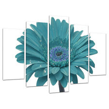Set of Five Teal Canvas Art Wall Pictures Living Bed Room Prints 5114