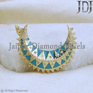 Natural Diamond Crescent Moon Pendant Gold Plated Sterling Silver Enamel Jewelry