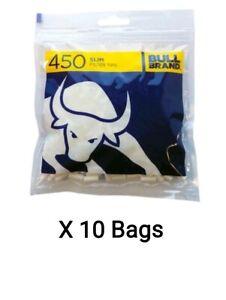 10 Bags x 450 Bull Brand Slim Filter Tips 6mm 4500 Slim Tips Not Swan Cheap