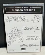 Stampin Up BLENDED SEASONS Autumn Leaves Fall Christmas Rubber Stamps AS IS***