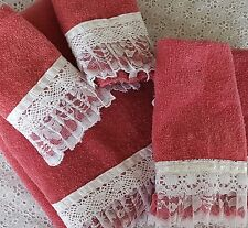 5 Pc Vintage Cannon Bath Towel Set Raspberry Pink White Lace Trim Wash Cloth +