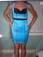 Jane Norman wiggle dress turquoise/black 6-8