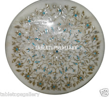 "30"" White Marble Coffee Table Top Rare Turquoise Ornate Inlay Garden Decor H918A"