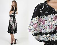 Vintage 70s Black Floral Dress Boho Disco Party Flutter Slv Full Skirt Midi Mini