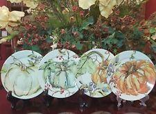 Pottery Barn Harvest Pumpkin Appetizer Plates NEW Set/4
