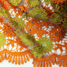 Orange African Style Cord Net Lace Embroidery Bead Stone Flowers Pattern 4 Dress